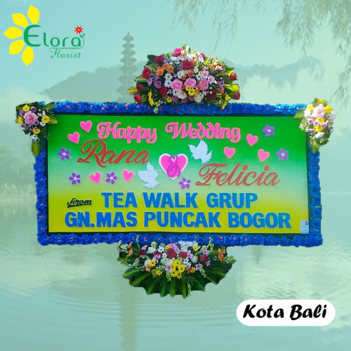 bunga papan happy wedding di jimbaran bali