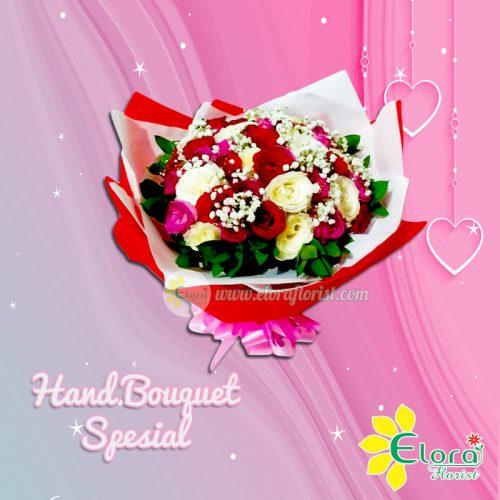Bouquet Valentine Bunga Mawar dengan 30 tangkai bunga mawar putih dan merah