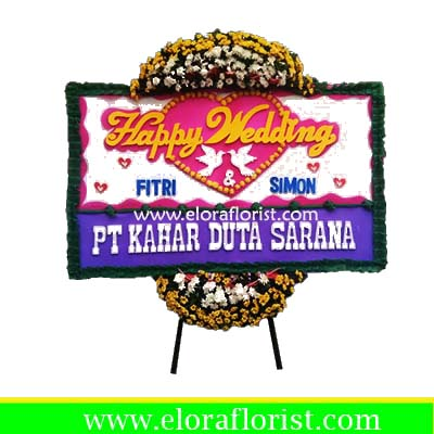 Bunga Papan Happy Wedding Bogor EJKTW-004