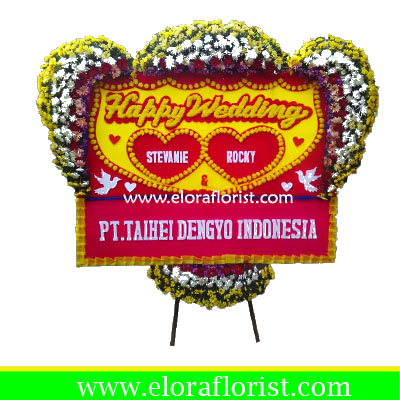 Bunga Papan Ucapan Happy Wedding EJKTW-026
