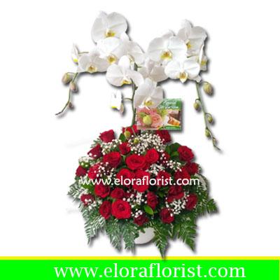 bunga meja mawar dan anggrek