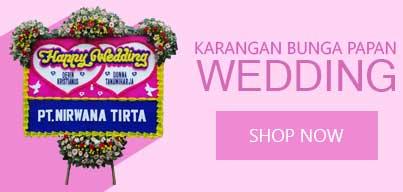 banner bunga papan happy wedding
